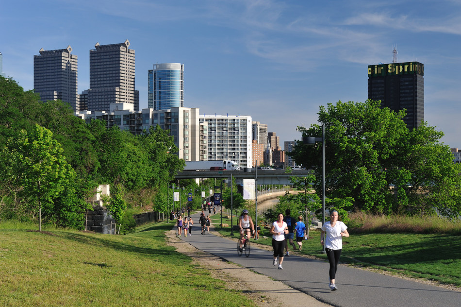 Walkers, runners and bicyclists use the Schuylkill River Trail in Philadelphia. The majority of trips taken in the U.S. are within a 20-minute bike ride or less, and more than one in four trips are within a 20-minute walk or less. A new study released by Rails-to-Trails Conservancy finds that increasing the number of those trips taken via active transportation instead of driving could generate $138.5 billion annually for the U.S. economy. More at railstotrails.org/trailstransform.