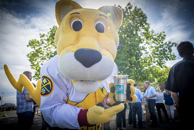 Denver Nuggets mascot, Rocky, enjoys Ball's infinitely recyclable aluminum cup, which is launching at Kroenke Sports & Entertainment's Pepsi Center.