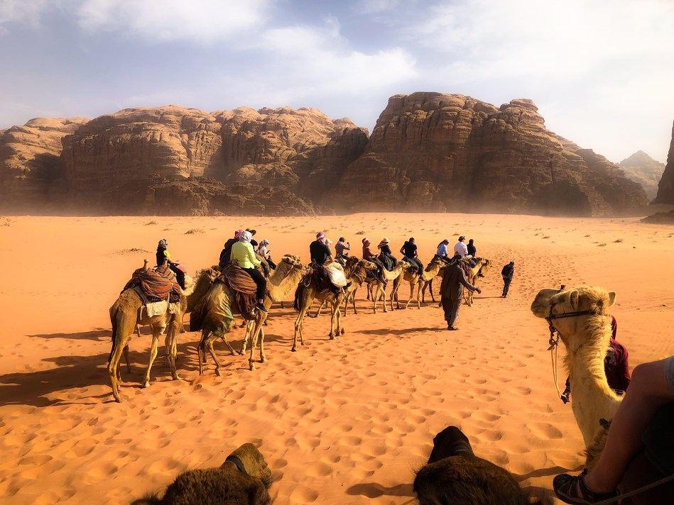 Ride camelback in the Wadi Rum region of Jordan for an exciting adventure.