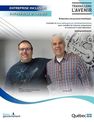 Une des affiches lancées dans le cadre de la campagne de sensibilisation et d'information. - Entreprise : Lasertech Industries (Groupe CNW/Office des personnes handicapées du Québec)