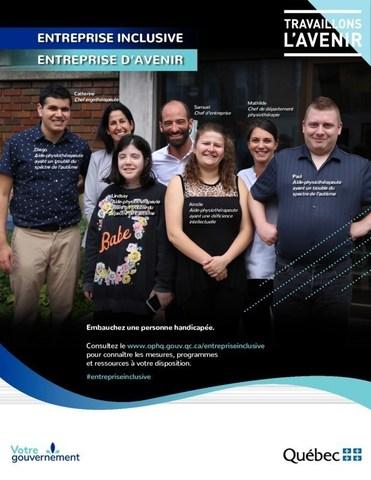 Une des affiches lancées dans le cadre de la campagne de sensibilisation et d'information.  Entreprise : Clinique Physio-Verdun (Groupe CNW/Office des personnes handicapées du Québec)