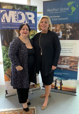 Daniella Puglielli, Founder of the MDR & Maureen Pace, Founder/CEO of WebPort Global pose after signing agreement to expand commercial opportunities for Mediterranean Diet food products globally. (Courtesy: WebPort Global)