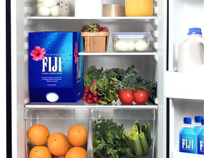 FIJI Water will introduce a new 2.5-gallon packaging option for the refrigerator or counter (pictured above) and a 5-gallon option designed to fit in a standard hot and cold water dispenser. Both will utilize up to 76 percent less plastic.