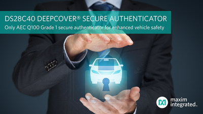 Maxim's DS28C40 DeepCover Secure Authenticator is the industry's only AEC Q100 Grade 1 secure authenticator for enhanced vehicle safety.