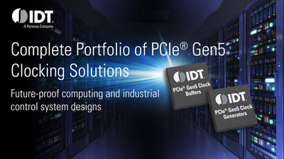 IDT offers complete portfolio of PCIe Gen5 clocking solutions for future-proof computing and industrial control systems.