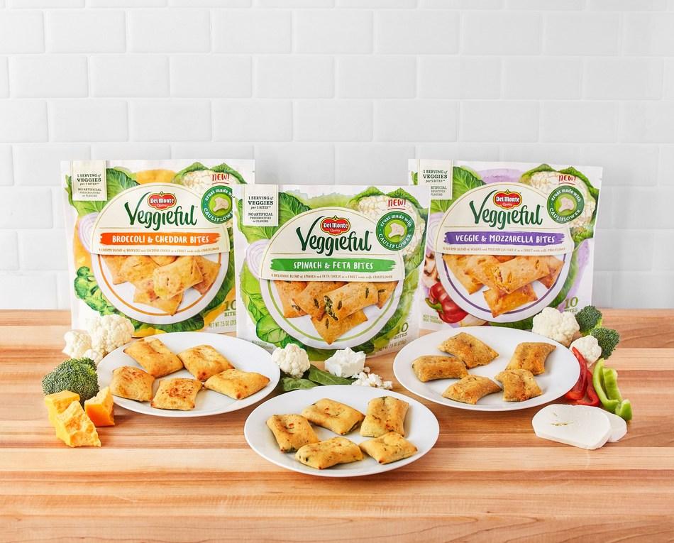 Del Monte Veggieful Bites comes in three flavors: Broccoli and Cheddar, Spinach and Feta, Veggie and Mozzarella.