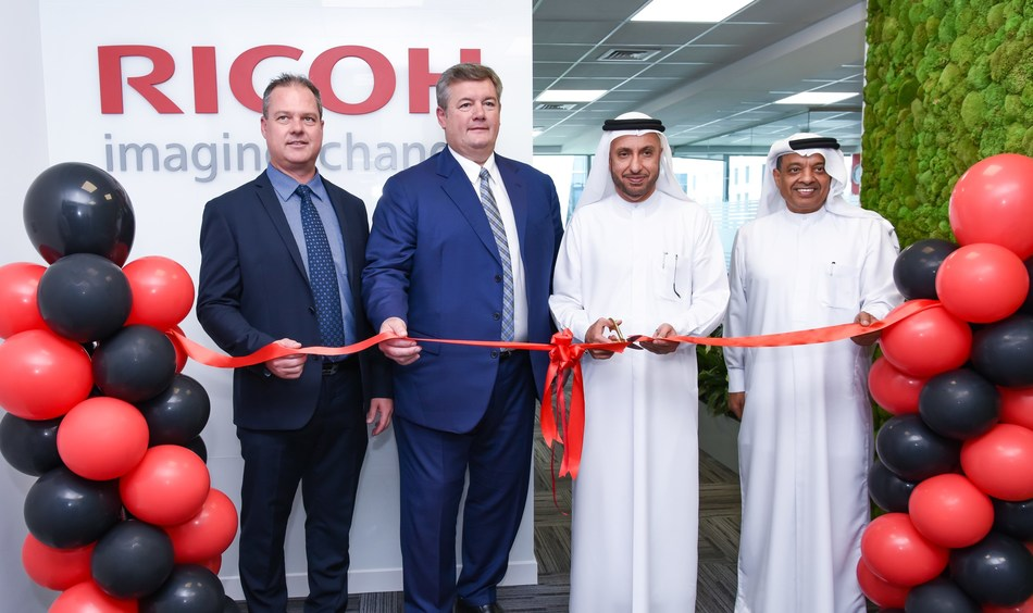 Dr. Mohammed Al Zarooni, Vice Chairman and CEO of DSOA, Henning Rudbech, Chief Executive Officer of Ricoh Emerging Markets Group EMEA & International, (Right) Dr. Juma Al Matrooshi, Deputy CEO of DSOA, (Left) Mark Thompson, General Manager of Ricoh Middle East