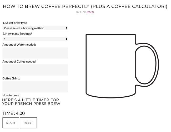 Coffee In My Veins Launches Coffee Calculator To Help Coffee Lovers Brew The Perfect Cup Of Coffee