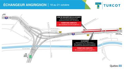 Fermetures - Échangeur Angrignon (Groupe CNW/Ministère des Transports)