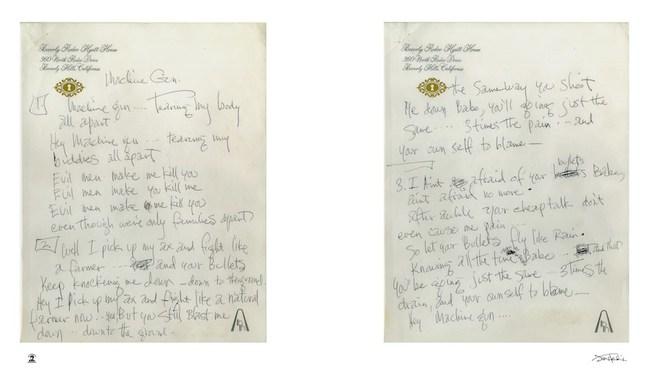 Jimi Hendrix : Machine Gun Handwritten Lyrics