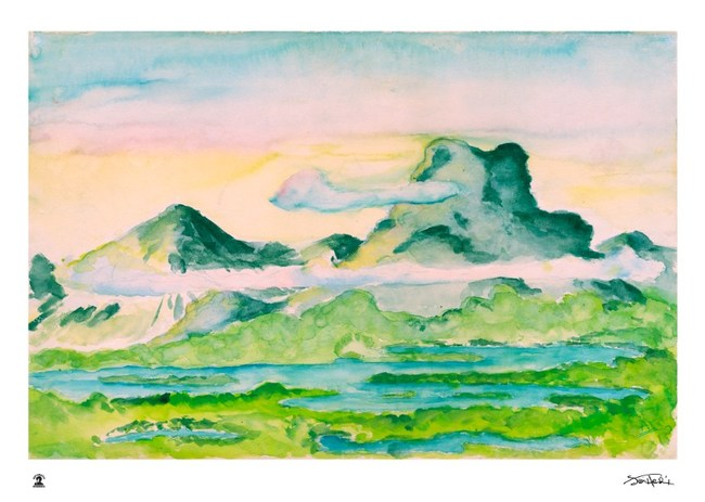 Jimi Hendrix : Watercolor Mountains