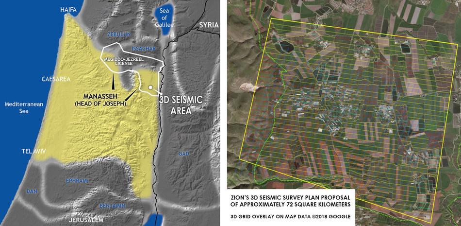 Zion's 3D seismic survey of approximately 72 square kilometers.