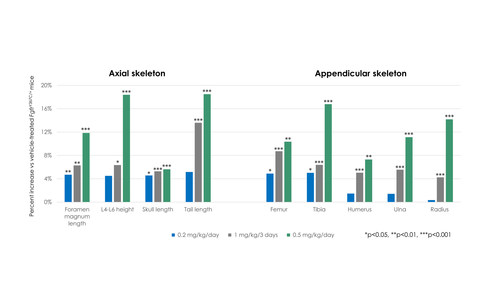 Infigratinib showed significant improvements in nine measures of bone development in model of achondroplasia.
