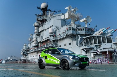MG ZS car model displayed on aircraft carrier deck