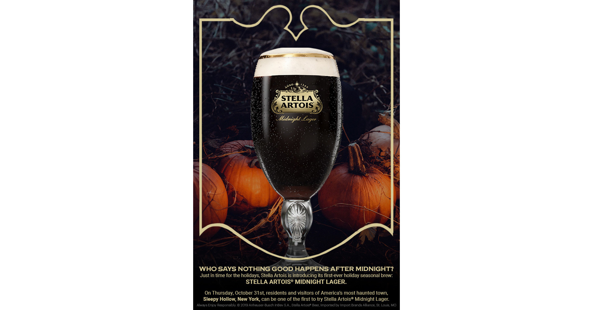 Sleepy Hollow Auto >> STELLA ARTOIS® Announces its First-Ever Limited-Edition Holiday Beer called Midnight Lager, and ...