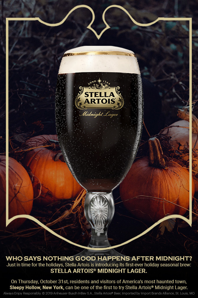 Just in time for the holidays, Stella Artois is introducing its first-ever holiday seasonal brew: Stella Artois(r) Midnight Lager. On Thursday, October 31st, residents and visitors of America's most haunted town, Sleepy Hollow, New York, can be one of the first to try Stella Artois(r) Midnight Lager. (PRNewsfoto/Stella Artois)