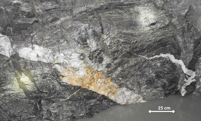 Figure 1: Coarse gold in quartz vein adjacent to sediments on 15 L South A Zone drive at Beta Hunt Mine drilled in preparation for removal. (CNW Group/RNC Minerals)