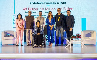 (Left to Right) At the launch of TikTok #EduTok Program, Supriya Paul (Co-Founder and Director Josh Talks), Aveg Agarwal (Senior Vice-President Toppr), Nitin Saluja (Director Public Policy, TikTok India), Sophie Choudry (Singer and Fitness Icon), Saurabh Adeeb (Head of Programs and Initiatives, The/Nudge Foundation) and Dr. Animesh (Popular #EduTok Creator) (Lower Row) Geet (Popular #EduTok Creator)
