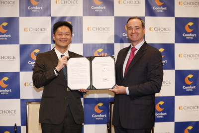 Pictured from left to right: Takeya Muraki, president and representative director, Choice Hotels Japan and Patrick Pacious, president and chief executive officer, Choice Hotels International.