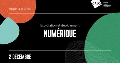 Appel à projets pour le programme Exploration et déploiement numérique (Groupe CNW/Conseil des arts et des lettres du Québec)