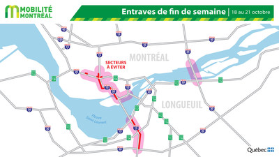 Carte générale des entraves, fin de semaine du 18 octobre (Groupe CNW/Ministère des Transports)