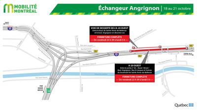 Fermeture A20 ouest et échangeur Angrignon, fin de semaine du 18 octobre (Groupe CNW/Ministère des Transports)
