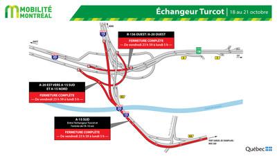 Fermetures échangeur Turcot, fin de semaine du 18 octobre (Groupe CNW/Ministère des Transports)