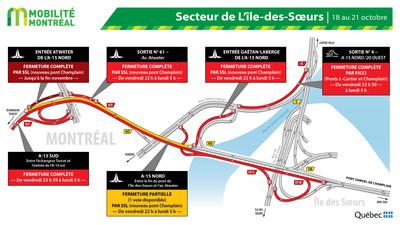 Fermetures A15 secteur Île-des-Soeurs, fin de semaine du 18 octobre (Groupe CNW/Ministère des Transports)