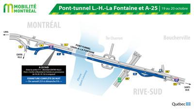 Fermeture tunnel Louis-H.-La Fontaine, samedi 19 octobre (Groupe CNW/Ministère des Transports)
