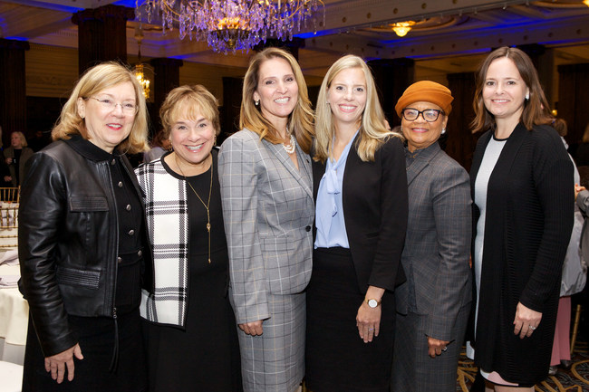 The Forum of Executive Women released the Women in Leadership 2019 report to 700 top area leaders. Lisa Detwiler-The Forum's Board President and Managing Director, FS Investment Solutions LLC; Sharon Hardy-The Forum's Executive Director; Deanna Byrne-Office Managing Partner, PwC Philadelphia; Colleen Crowley-Partner, PwC; Lorina Marshall-Blake,The Forum's Diversity & Inclusion Committee Chair&President Independence Blue Cross Foundation; Julie Kaeli-The Forum's Associate Director (Langdon photo)