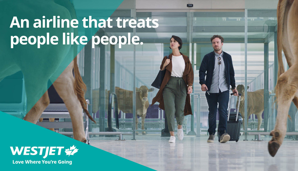 National advertising campaign focuses on airline's commitment to treating people like people (CNW Group/WESTJET, an Alberta Partnership)