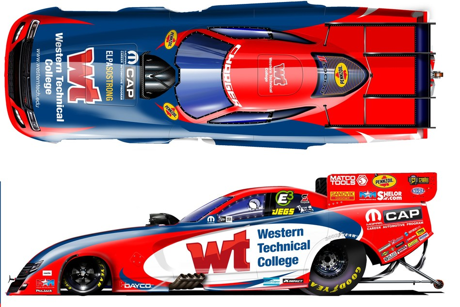 Western Technical College is sponsoring the red, white and blue wrap for the Don Schumacher Racing (DSR) Dodge Charger SRT Hellcat that will be driven by Matt Hagan during the AAA Texas National Hot Rod Association (NHRA) FallNationals this weekend.