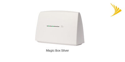 The Sprint Magic Box Silver offers a plug-and-play, installation-free feature that automatically connects to the Sprint network – improving data coverage and download and upload speeds indoors. (PRNewsfoto/Sprint)