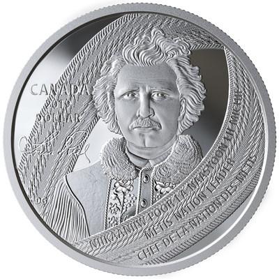 La moneda de colección de plata de Royal Canadian Mint en conmemoración de Louis Riel (CNW Group/Royal Canadian Mint)