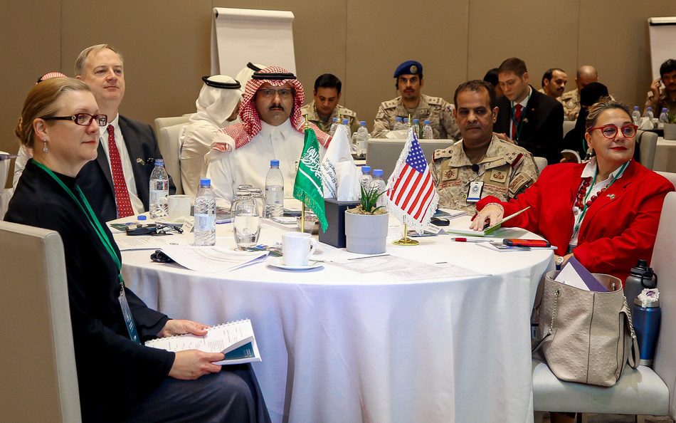 US Ambassador to Yemen Christopher Henzel (2nd from left) with Saudi Ambassador to Yemen and SDRPY Supervisor-General Mohammed Al Jabir (center) and Saudi Military Attache in Yemen Brig. Gen. Nasser Al Fahdi (2nd from right) at the 2nd Stabilization Workshop in Riyadh, 20 Oct. 2019