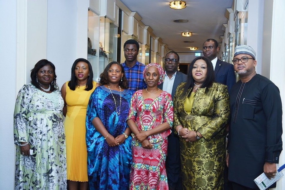 Front row: Wife of the Vice President; Mrs Dolapo Osinbajo (third right) with Marketing Director, Chris Wulff-Caesar (first right); Executive Director Mrs Ore Famurewa (second right); and Mrs Maureen Ifada, Marketing Manager Peak (second left); all of Friesland Campina WAMCO Nigeria Plc at the unveiling of Abuja 2020 Para Powerlifting World Cup at the Presidential Villa over the weekend. (PRNewsfoto/WAMCO Nigeria Plc)