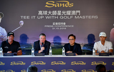 Sands holds a press conference Monday at Macao Golf and Country Club to announce an ongoing partnership with rising Chinese golf star Li Haotong as a global brand ambassador for the integrated resort group.