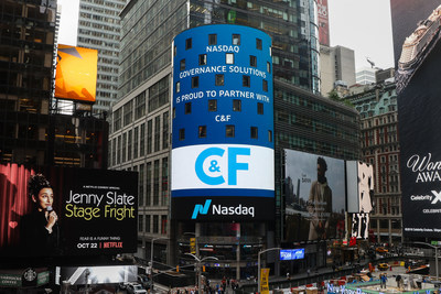 New York, Times Square: Nasdaq welcomes C&F among partners on the Market Site