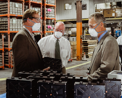 Gridtential Energy CEO, John Barton, Crown Battery President & CEO, Hal Hawk and Gridtential Energy Board Chairman, Ray Kubis, discuss Silicon-Joule bipolar technology during the recent battery production run at the Crown Battery facility in Fremont, OH.