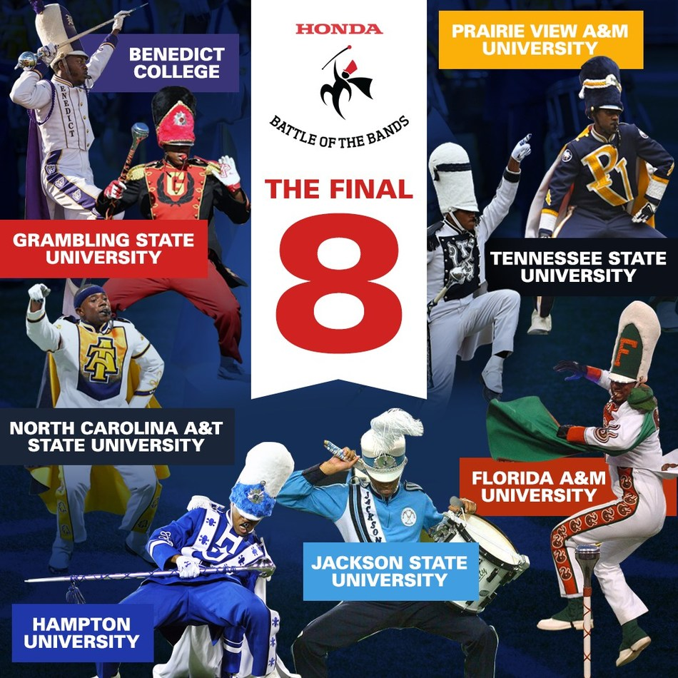 Benedict College, Florida A&M University, Grambling State University, Hampton University, Jackson State University, North Carolina A&T State University, Prairie View A&M University, and Tennessee State University have been selected to perform at the 17th Honda Battle of the Bands Invitational Showcase on January 25, 2020 in Atlanta.