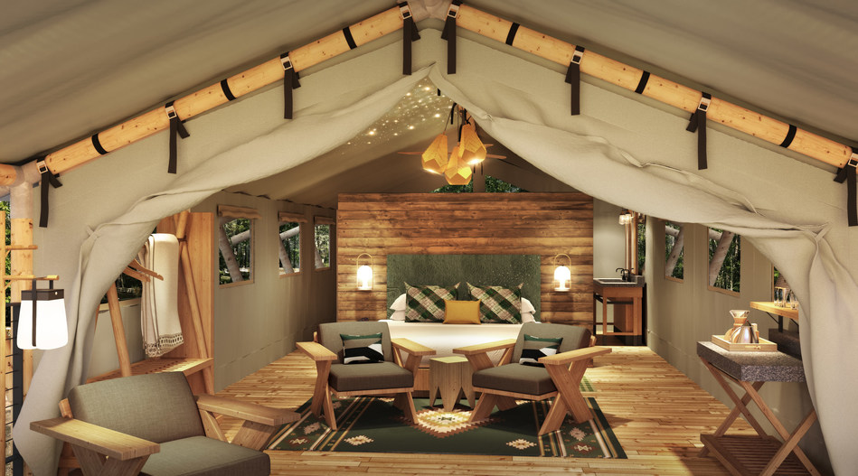 The 64 Terramor Bar Harbor luxury canvas tents are set among the trees of the 60-acre property, designed to blend the aesthetics of the nature with the comforts of an upscale hotel room. All have their own verandas, private campfire rings and outdoor patio seating.