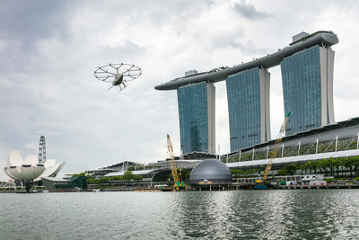 Volocopter air taxi flies over Singapore's Marina Bay