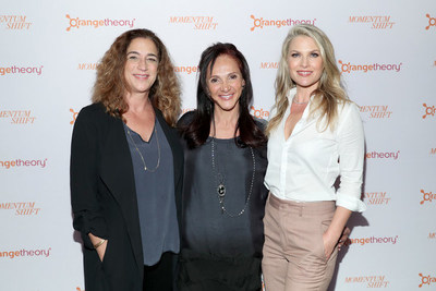 "Kristi Jacobson, Ellen Latham and Ali Larter pose on the red carpet at the premiere of ""Momentum Shift,"" a documentary that highlights Orangetheory's inspiring female-founding story and other tales about the power of community."