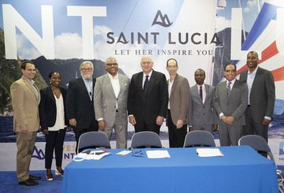 The MOU was signed during a ceremony October 21 at the annual Florida-Caribbean Cruise Association (FCCA) Cruise Conference & Trade Show in San Juan, Puerto Rico. The ceremony included (from left) David Candib, Vice President, Development & Operations, Carnival Corporation; Marie McKenzie, Vice President, Global Ports & Caribbean Government Relations, Carnival Corporation; Micky Arison, Chairman, Carnival Corporation; Arnold Donald, CEO, Carnival Corporation; Hon. Allen Chastanet, Prime Minister, Saint Lucia; Adam Goldstein, Vice Chairman, Royal Caribbean Cruises Ltd.; Hon. Dominic Fedee, Minister of Tourism, Saint Lucia; Miguel Reyna, Associate Vice President, Commercial Development, Royal Caribbean Cruises Ltd.; Russell Benford, Vice President, Government Relations, Royal Caribbean Cruises Ltd.