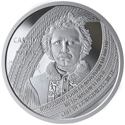 A moeda de prata para colecionadores da Royal Canadian Mint homenageando Louis Riel (CNW Group/Royal Canadian Mint)