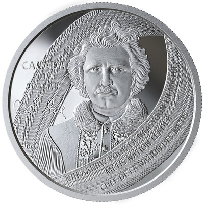 Moneda de plata de colección de la Casa Real de la Moneda de Canadá en homenaje a Louis Riel (CNW Group/Royal Canadian Mint)