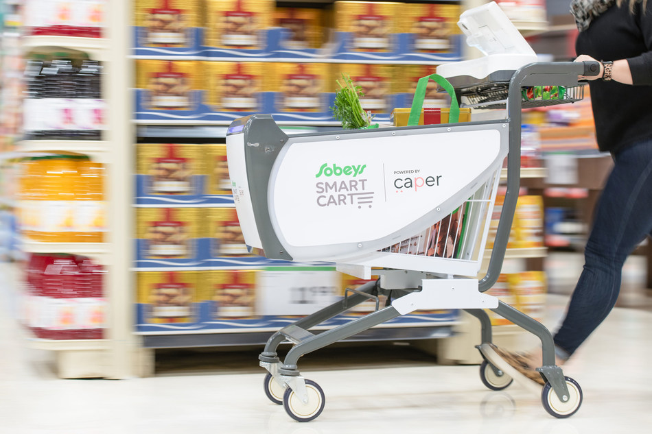 Sobeys rolls out the first intelligent shopping cart, called the Sobeys Smart Cart, to Canadian grocery stores today at the grocer's Glen Abbey Sobeys location in Oakville, Ontario. (CNW Group/Sobeys Inc.)