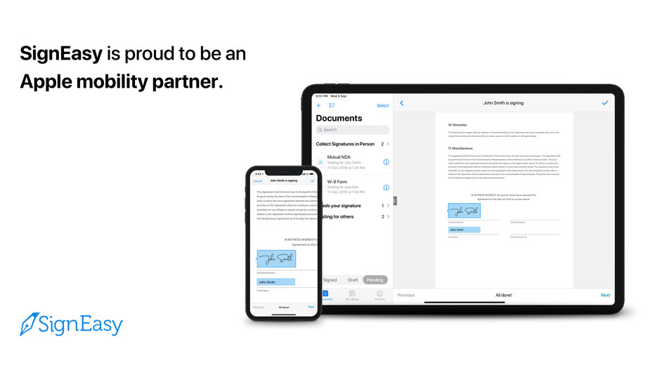 SignEasy is proud to be an Apple mobility partner.