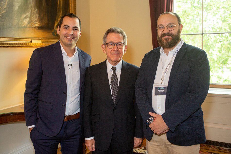 Lord Browne, flanked by Windward co-founders, Matan Peled (right) and Ami Daniel (left), at the 'Sea: The Future' conference in London, May 2019.