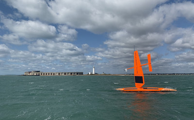 Saildrone SD1021 leaving the UK at the start of the first unmanned autonomous East to West Atlantic crossing